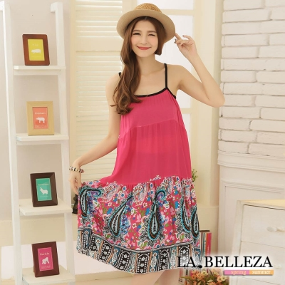 La Belleza桃紅色藝術圖騰變形蟲細肩麻棉洋裝