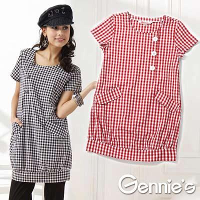 【Gennie's奇妮】個性服飾格紋春夏孕婦哺乳洋裝(GNA 11 )