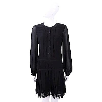 TORY BURCH Sydney 蕾絲百褶細節黑色絲質洋裝