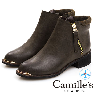 Camille's 韓國空運-小尖楦頭皮帶墜飾拉鍊短靴-深綠咖