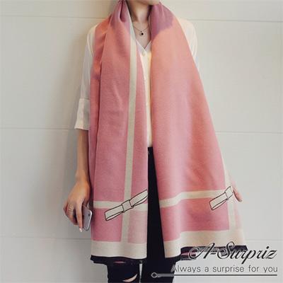 A-Surpriz-優雅蝶結加大兩面仿羊絨披肩圍巾-粉色