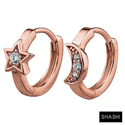 SHASHI 紐約品牌 Moon Star 鑲鑽月亮星辰小圓耳環 925純銀鑲18K玫瑰金
