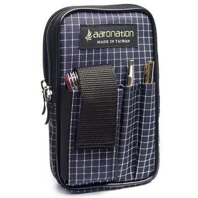 aaronation 愛倫國度 - 多夾層拉鍊隨身包AN-2547L-藍白
