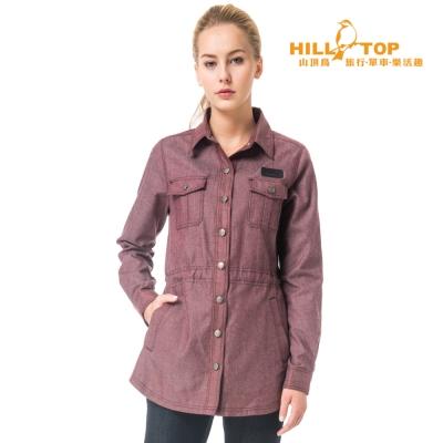 【hilltop山頂鳥】女款吸濕保暖長襯衫C05F18牛仔暗紅