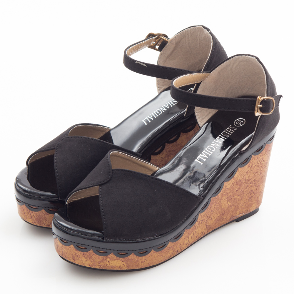 JMS-俏麗素面皮滾邊環裸楔型涼鞋-黑色