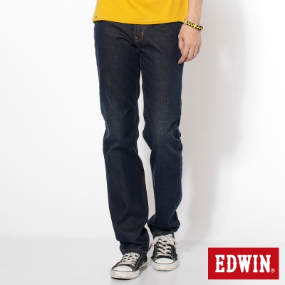 EDWIN-輕鬆俐落-基本五袋高腰中直筒牛仔褲-男-原藍磨