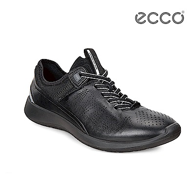 ECCO SOFT 5 綁帶式輕量休閒鞋-黑