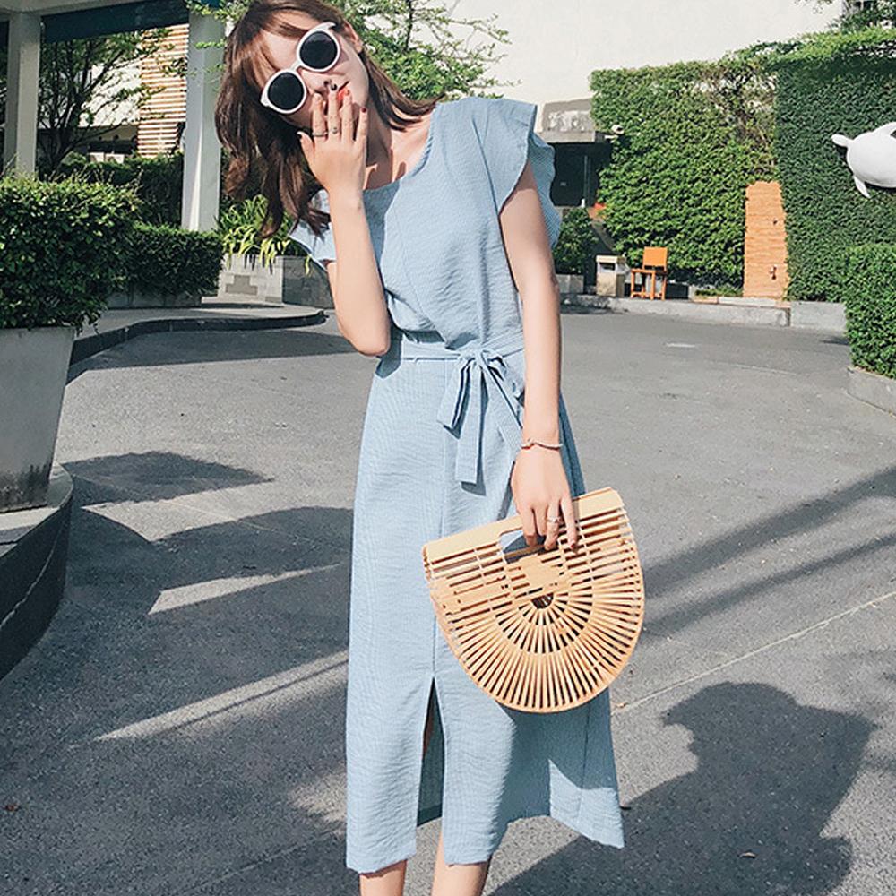 圓領條紋綁帶無袖長款洋裝 (共三色)-Kugi Girl