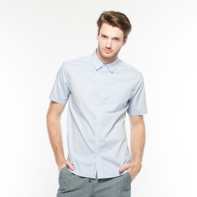 Hang Ten - 男裝 - 都會風基本短袖襯衫 - 藍