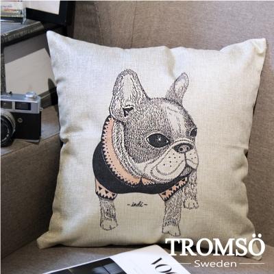 TROMSO-品味英倫棉麻抱枕/手繪法鬥