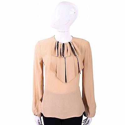 ELISABETTA FRANCHI 珍珠領片裝飾橘棕色澎袖絲質上衣