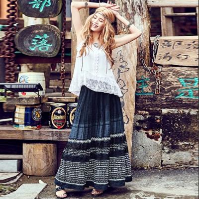 復古刺繡訂制壓褶百搭半身裙F-維拉森林