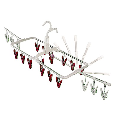 日本AISEN通風機能2段式20夾鋁合金曬衣架(紅色曬夾)