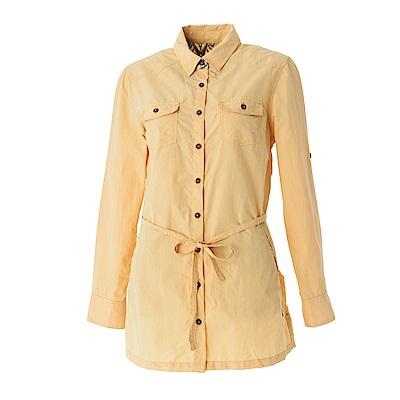 【Wildland 荒野】女抗UV時尚長版襯衫-鵝黃色