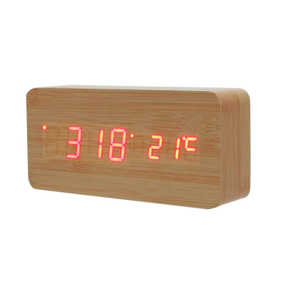 LED木質鬧鐘萬年曆(大)原木