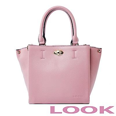 LOOK真皮轉鎖手提包-俏麗女孩Queena系列-甜漾粉