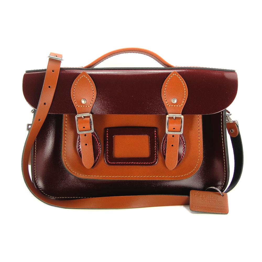 The Leather Satchel 英國手工牛皮劍橋包 肩背手提包 復古紅 12.5吋