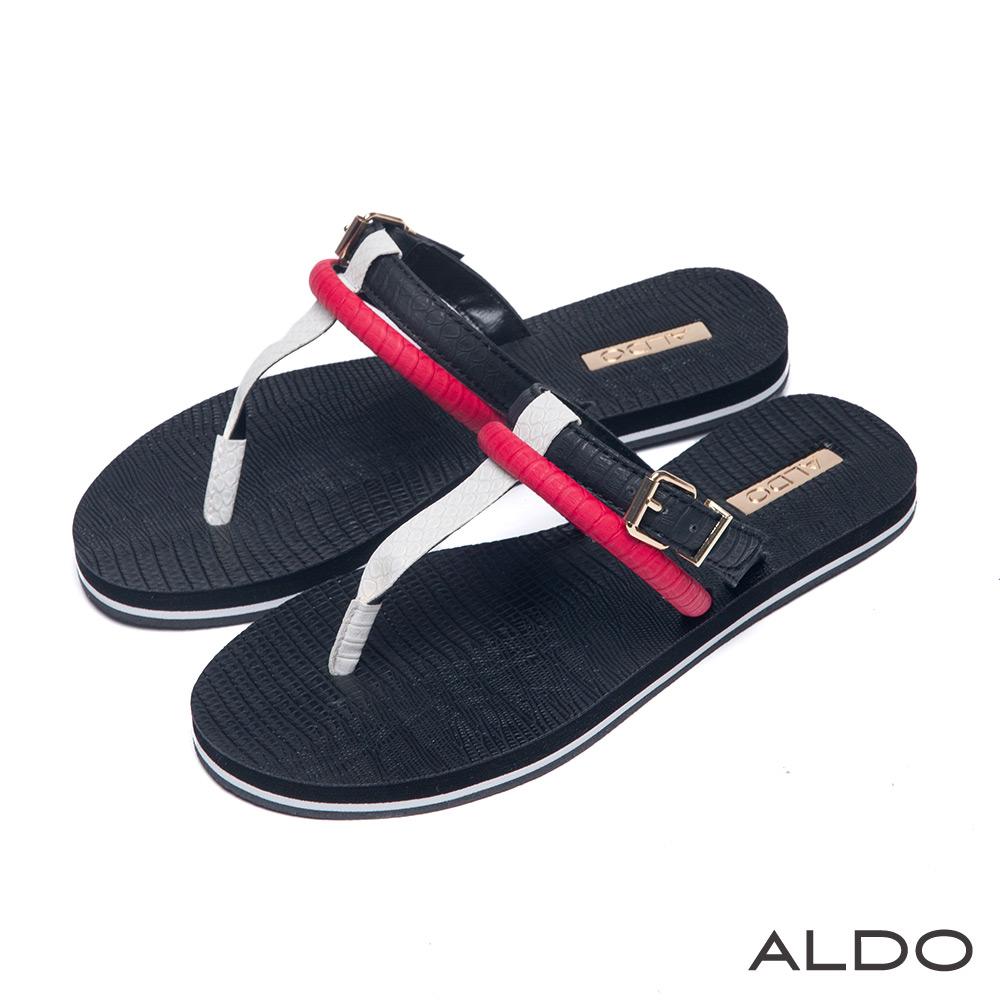 ALDO 熱情森巴異材質雙環金屬T字夾腳涼鞋~耀眼紅色