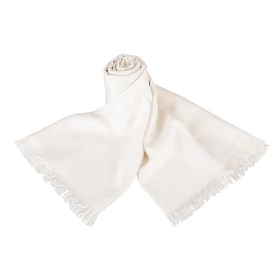 COACH 經典C LOGO造型棉質蠶絲披巾/圍巾(象牙白)COACH