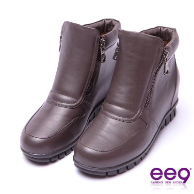 ee9 率性焦點金屬扣環雙拉鏈素面百搭踝靴 咖色