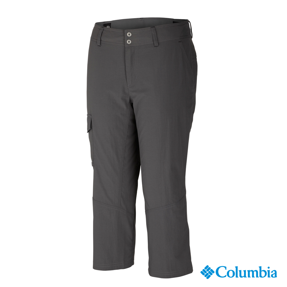【Columbia哥倫比亞】女-快排防曬50七分褲-深灰 UAR80090DY