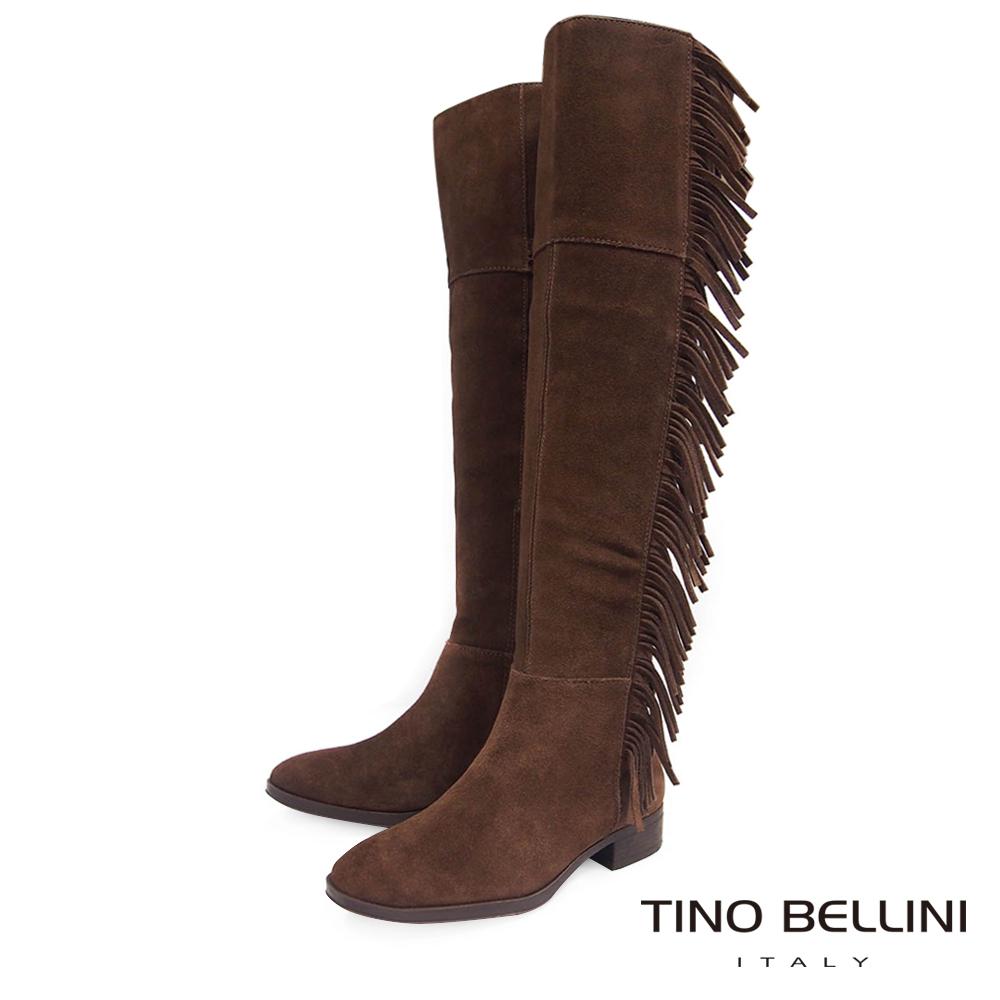 Tino Bellini 巴西進口不羈流蘇平底過膝靴_ 咖
