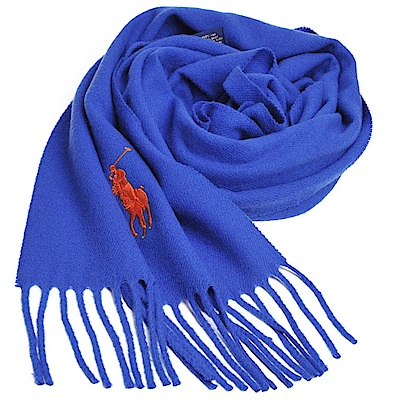 RALPH LAUREN POLO 義大利製大馬刺繡LOGO素面羊毛圍巾(寶藍)