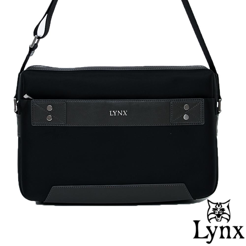 Lynx - 山貓紳士極簡風格橫式真皮斜側背包(大)-沉穩灰