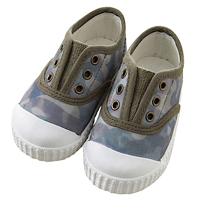 Dave Bella 灰藍迷彩免綁帶帆布鞋