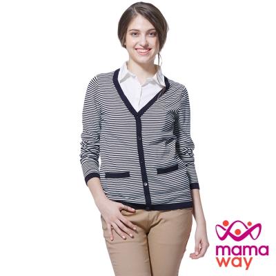 孕婦裝 哺乳衣 大V領針織孕哺假兩件上衣(共二色) Mamaway