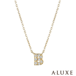 A-LUXE 亞立詩 Alphabet系列10K鑽石項鍊-B
