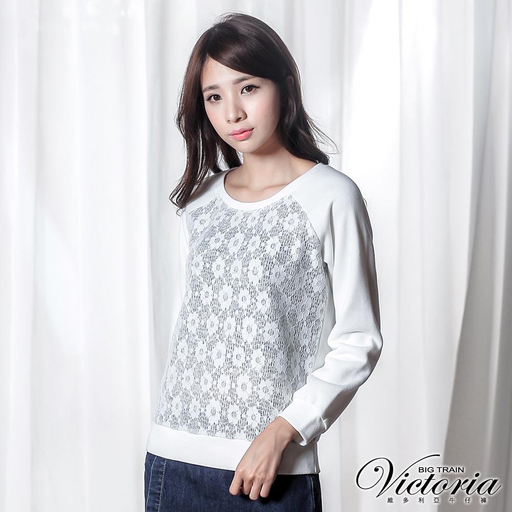 Victoria 蕾絲貼合拼接拉克蘭長袖T-女-白色