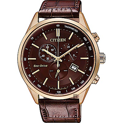 CITIZEN星辰 新年限定款光動能計時手錶(AT2143-14X)-棕/42mm