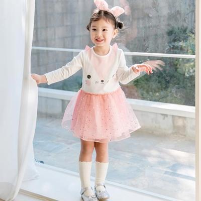 BEBEZOO 韓國 粉白貓咪長袖亮片紗裙洋裝