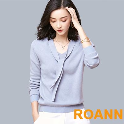 領口綁帶設計純色針織上衣 (共四色)-ROANN