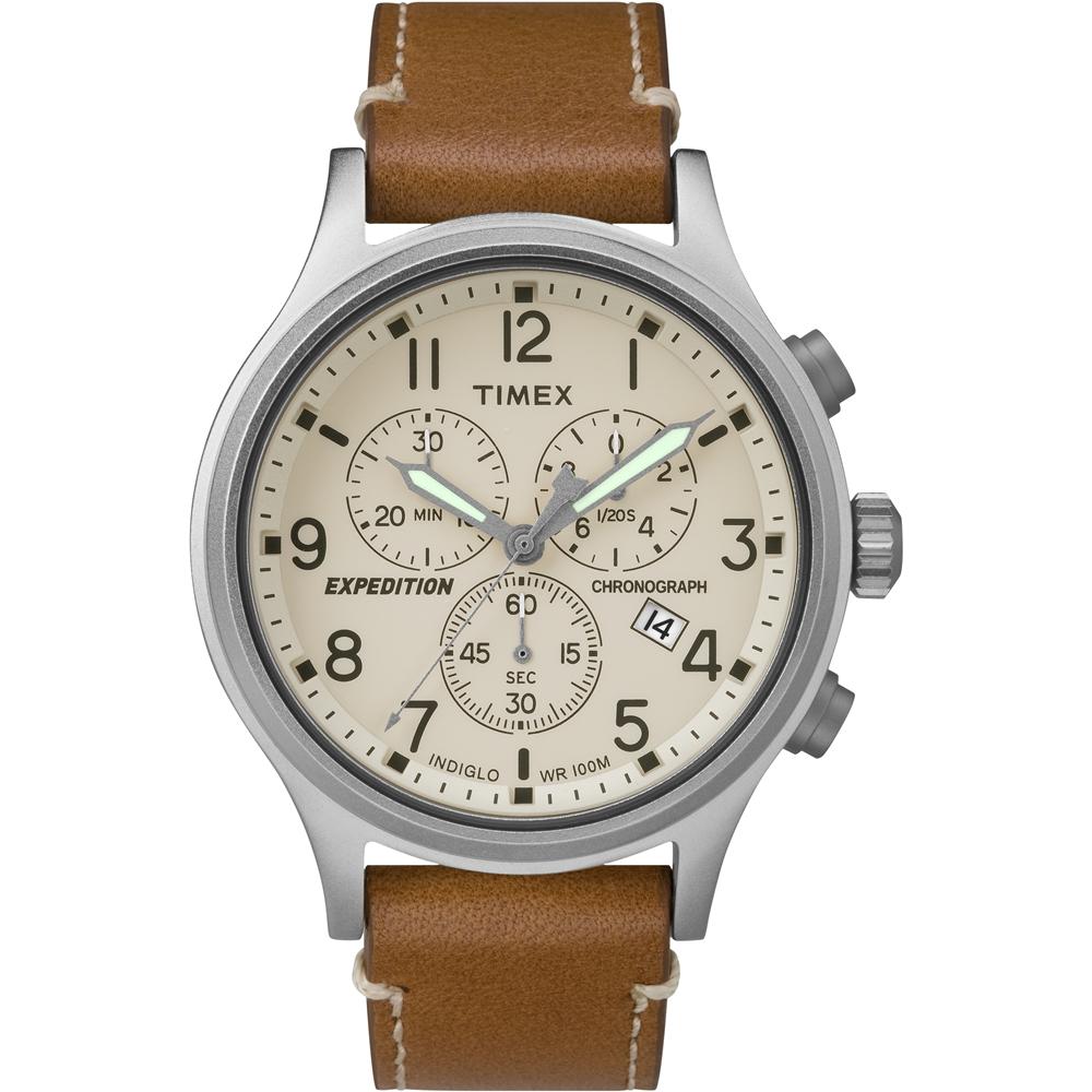 TIMEX 天美時 Scout Chrono 三眼計時手錶-米色x咖啡/41mm