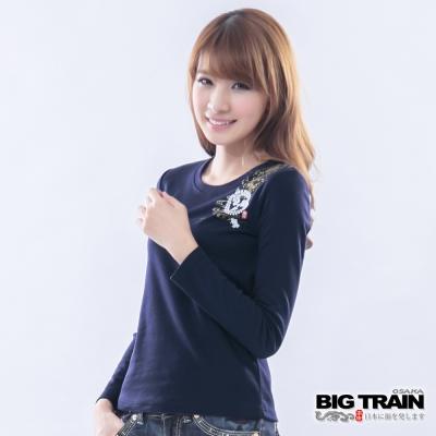 BIG TRAIN-女款 家徽金魚印花TEE-深藍