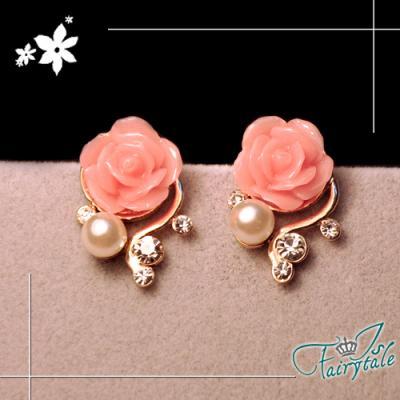 iSFairytale伊飾童話 綻放薔薇 纏繞珍珠水鑽耳環 粉
