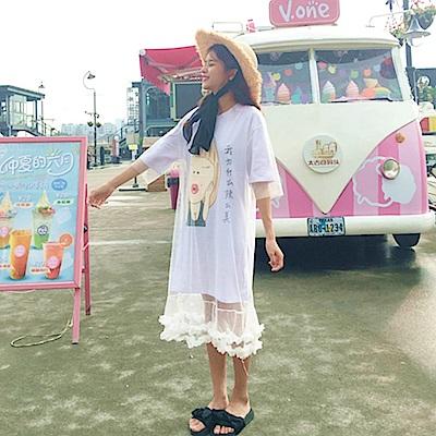 La Belleza假兩件拼接網紗自戀女孩花瓣層次裙擺紗裙洋裝