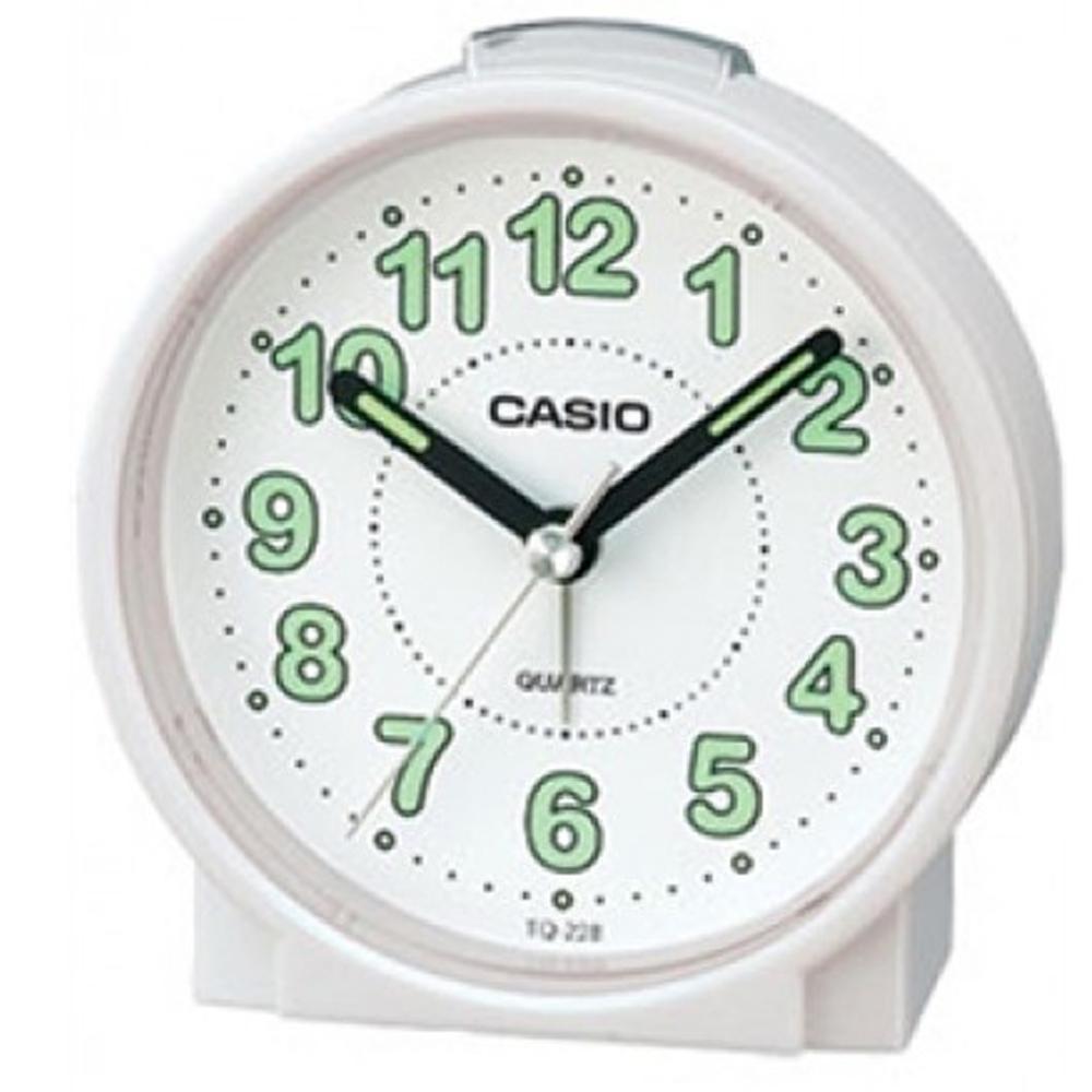 CASIO 貪睡鬧鐘桌上圓型指針款鬧鐘(TQ-228-7)-白x白面