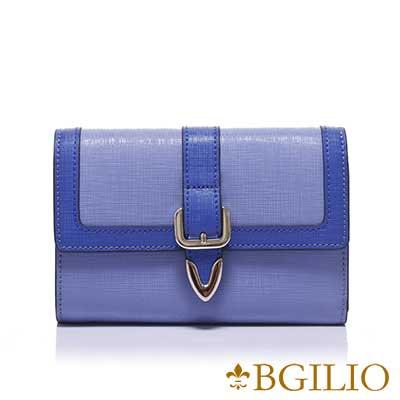 義大利BGilio-十字紋牛皮雙色立體邊框中夾-淺藍1965.306-09
