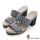 Hush Puppies LETA 舒適跟高涼拖-黑白幾何紋