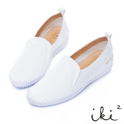 iki2 內真皮 經典素面百搭內增高休閒鞋-白