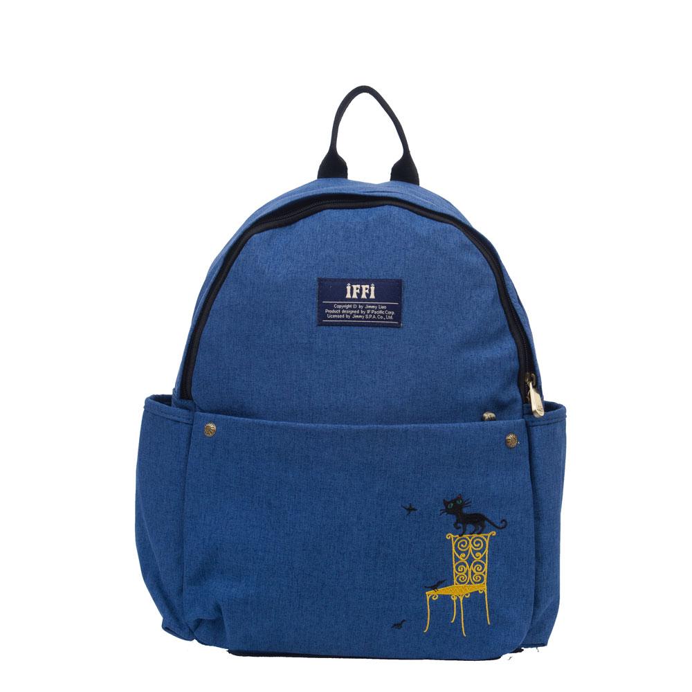 IFFIx幾米-後背包-刺繡貓-藍