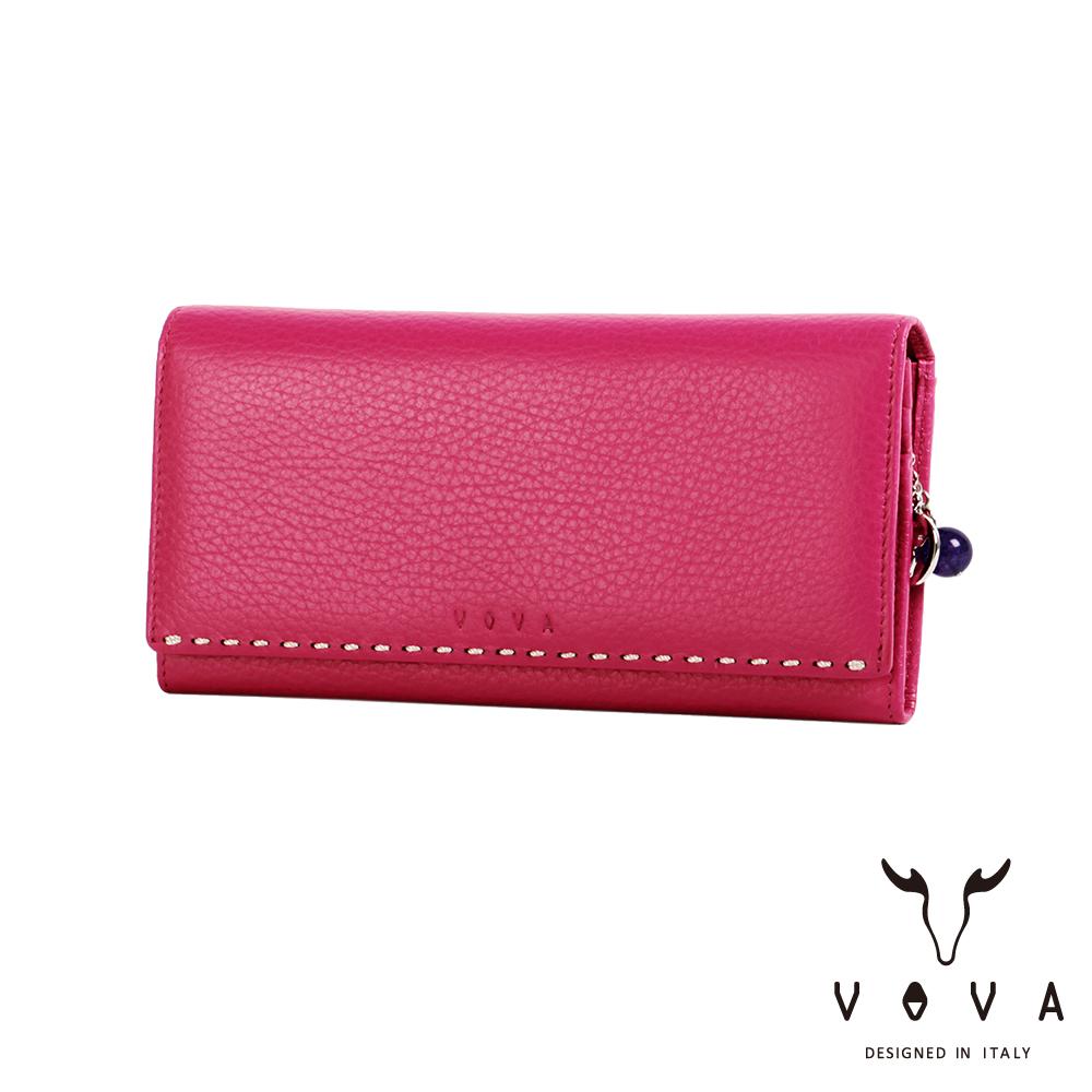 VOVA - 貝拉系列9卡荔枝紋兩折長夾 - 桃紅色
