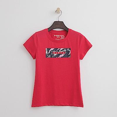 Hang Ten - 女裝 - 個性印圖有機棉TEE-紅色
