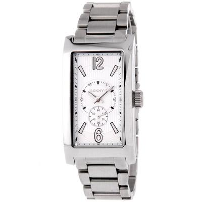 DKNY都會時尚小秒針長方型腕錶-白27mm