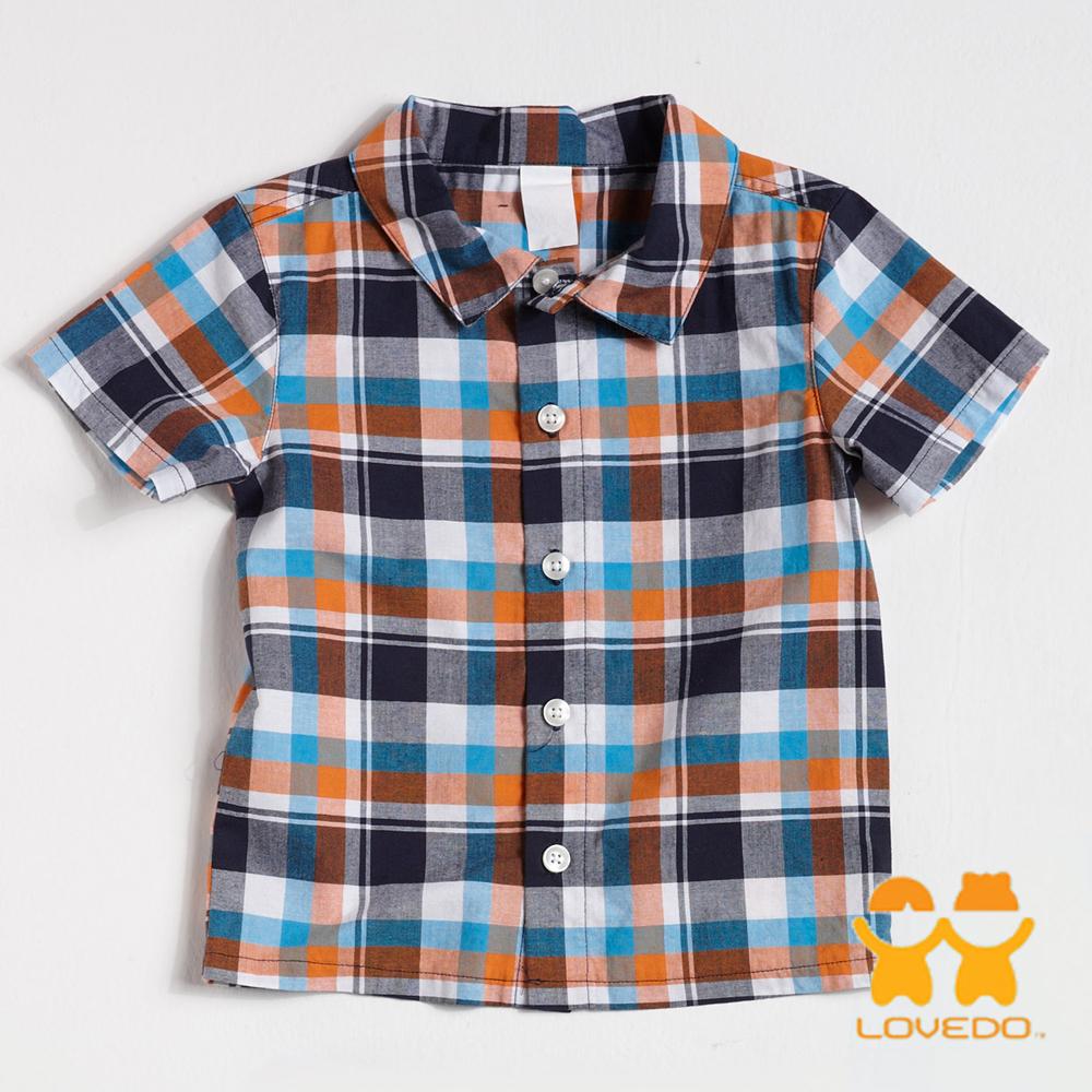 【LOVEDO-艾唯多童裝】百搭格紋棉質短袖襯衫(藍灰桔)