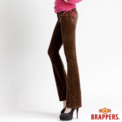 BRAPPERS 女款 女用彈性平面絨鑲鑽小喇叭褲-深綠