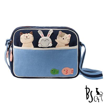 ABS貝斯貓 可愛貓咪拼布 肩背包 斜背包 (藍) 88-194